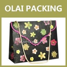 Hot sale shopping,gift paper bag,flower black creative paper bag