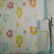Latest Plain Shower Curtain with Printed Flowers