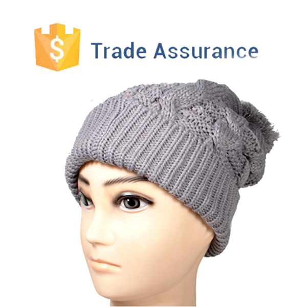 Wholesale Pom Pom Baggy Knitted Beanie/cable Beanie Hat Knitting Pattern/cabl...