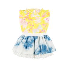 Summer Chiffon Children Girls Dress Frock Ruffle Lace Trim Boutique Girl Dresses