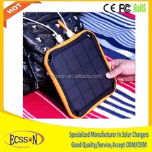 5600mah high-tech portable sticky solar charger, waterproof solar power bank for mobile and tablet pc