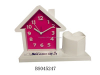 2015 funcy standing antique desk table clock house shape desk clock with pen container