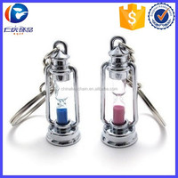 Oil Lamp Sand Timer Hourglass keyring Couple Lovers Promise