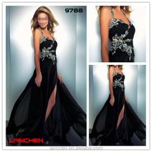 9788 Hotsale Crystal Stones Chaozhou Super Handwork Beaded Sexy Back Open Evening Dress