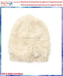 Beige fluffy beanie bowler hat, nylon winter hat,Fashion Hat