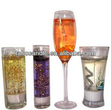 clear gel candle with christmas assortment