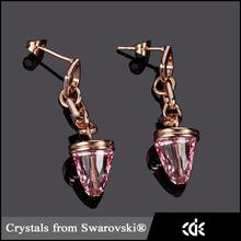 Gold Plated Swarovski Jewelry Elements Crystal Long Drop Earrings For Women