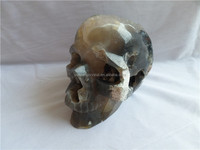 Natural Special and Rare design Grey agate stone skull carving