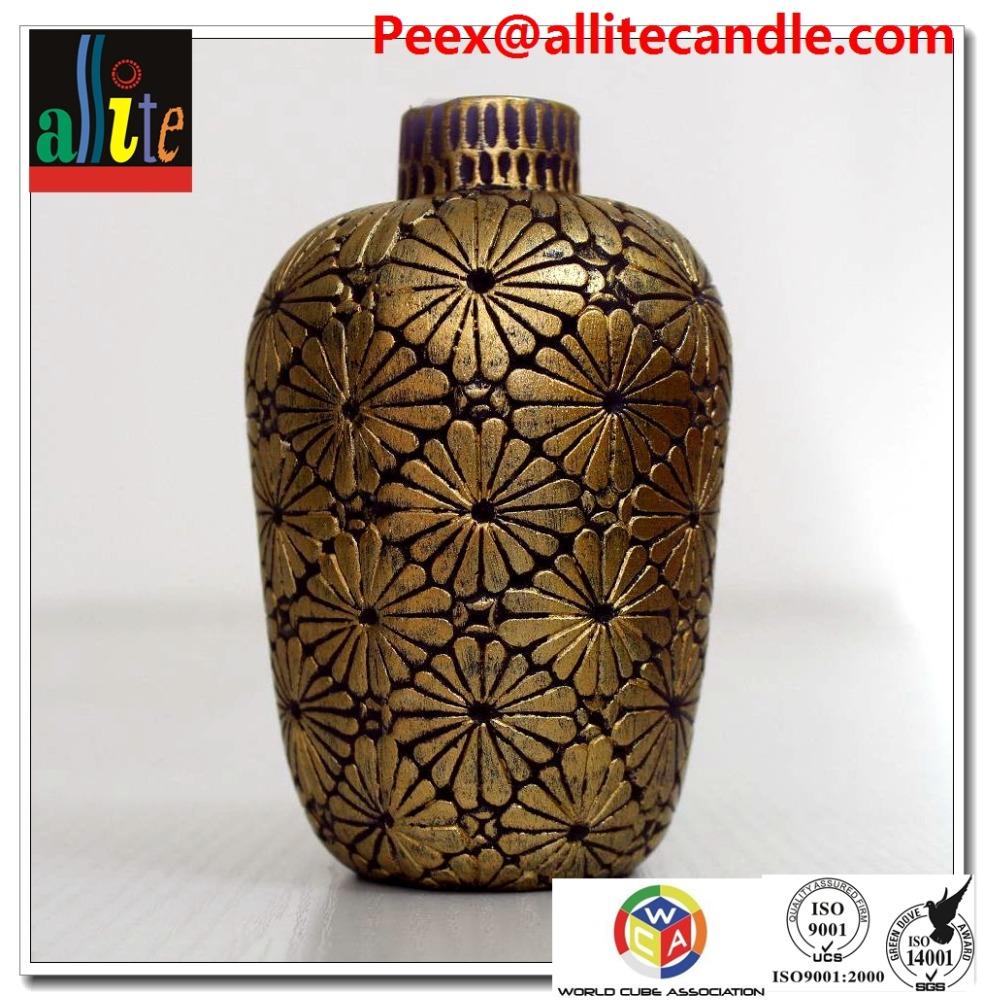Allite botellas De Cerámica florero blanco vela con cera de soja/plam cera AAM61A