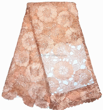 african guipure lace fabric new design hot selling LC98-7 peach