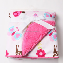 2015 new wholesale Embroidery bilayer children blanket cheap fleece baby blanket