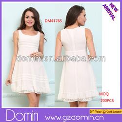 Ladies Fashion Fold Summer Dress U Neck Lace Hem Lace Dresses