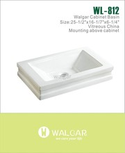 Counter top porcelain square basin sink for bathroom use