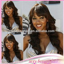 Fashion women sexy loose wavy hair wig with straight bang virgin brazilian human glueless full lace wig and lace front wigs