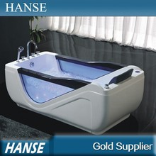 HS-B291 indoor led light air jet whirlpool free standing resin bathtub