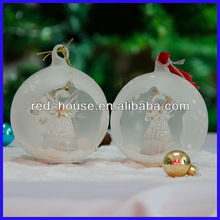 Fashionable Star Open Christmas Ball frosted Glass with star angel inside