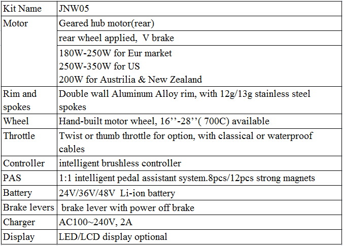 JNW05 180w-350w brushless gear hub motor(rear,cable location is center right),ebike conversion kit,waterproof kit,ebike kit