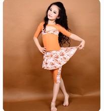 2015 Orange Belly Dance Costumes for kids / Flower Printing Girl Dresses