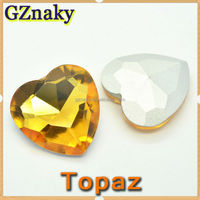 TOPAZ 27x27mm heart shaped crystal beads for decorate brazil carnival costumes