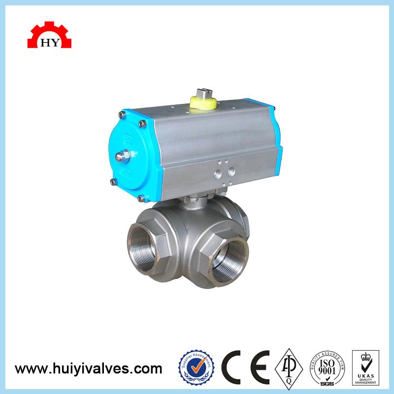 Boa qualidade stainess aço duplex controle elétrica dn10 gpl 3-way válvula de esfera thread