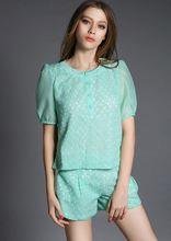 Summer new women's sweet lace embroidered short-sleeved T-shirt + shorts suits wholesale clothing