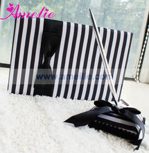 A07309 Classic Black & White Stripe Bow Wholesale Wedding guest books