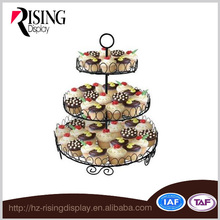 Black Powder Coat 3 Tier Cupcake Stand For Baking Shop