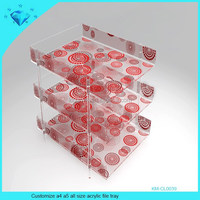 Customize a4 a5 all size acrylic file tray