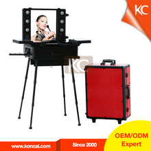 aluminum makeup case with legs/ professional trolley makeup case with lights/rolling trolley makeup train case with stands