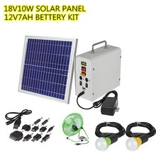 Solar panel kit with 10W solar panel and 7AH battery,solar kit for Africa,solar power kit for project.