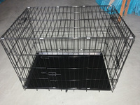 good quality folding dog cage with plastic tray