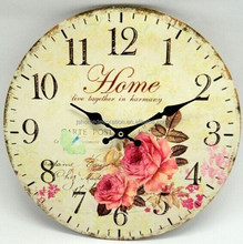 2015 hot sales fashion high quality promotion beautiful wood crafts wall clock for home decoration