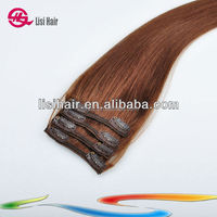 China Golden Supplier 100% Remy Human Hair Thick Cuticles Correct Brazilian full head clips hair extensions double weft