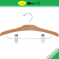 LM4520 Wooden Mens Pants Hangers With Pearl Nickel Clips