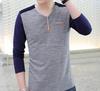 2015 latest fashion OEM V neck long sleeve men t shirt