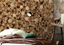 New fashion round log wallpaper design for home with Non-woven wallpaper for living room
