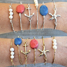 2015 summer fashion gold bracelet classic Nautical anchor&pearl&starfish metal alloy gold&sliver bangle bracelet