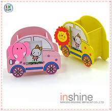Decorative cartoon wooden handmade pen holders with clip and photo frame , table pen & pencil holder