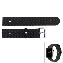 Carbon Fiber Texture Replacement Leather Watchband for Apple Watch 38mm, Size:13cmx2cm(Black)