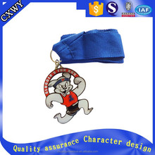 2016Factory direct sale cartoon character custom medal with free ribbon