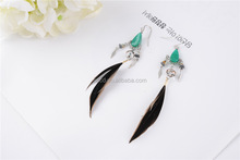 latest earring design drop shape feather earring