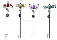 Garden Yard metal butterfly dragonfly ladybug glass crackle ball Solar Light