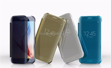 2015 New Products Clear View Mirror Electroplating PC Hard Flip Case For Samsung Galaxy S6 & S6 edge