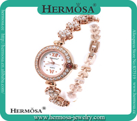 High End Fashion Jewelry White Topaz Band Round Case 18K Gold Dress Jewelry Watch