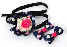 Cheap Bow Ties Flower Plaid Satin Ribbon Pet Bow Tie Hairpin