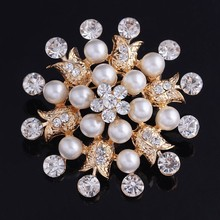 2015 New fashion designs 18K gold flower cluster large brooch for wedding bridla decro flower broaches Ad153-B