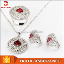 china wholesale 925 silver jewelry set red cz jewelry set natural stone jewelry