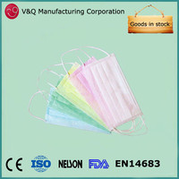 Non woven clean room 3-layer PP disposable ventilated face mask for food service