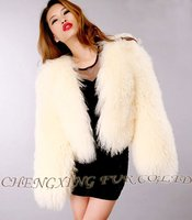 CX-G-A-25A Genunie Mongolian Lamb Fur Coat Women 2014