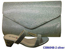 CSB6048-2 silver 2014 latest fashions woman italy style crystal thick heel shoes with matching bag